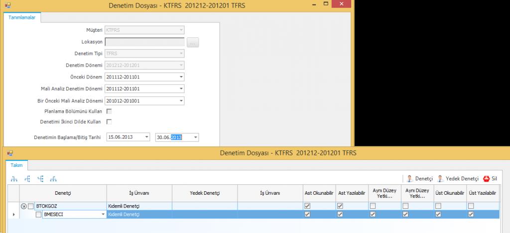 CAP Denetim Dosyası Ekranı