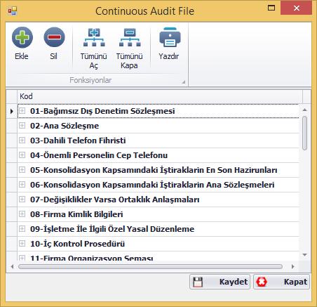 CAP Devamlı Denetim Dosyası Ekran